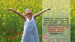 Bible Verses About Children Desktop Wallpaper Ephesians 6-1-3 Thumbnail