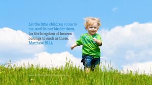 Bible Verses About Children Desktop Wallpaper Matthew 19-14 Thumbnail