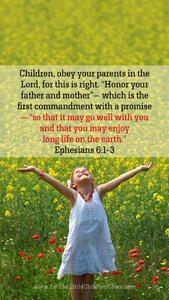 Bible Verses About Children Mobile Wallpaper Ephesians 6-1-3 Thumbnail