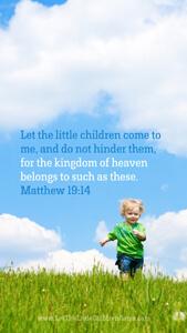 Bible Verses About Children Mobile Wallpaper Matthew 19-14 Thumbnail